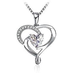 """Regalo Navidad J.Rosée Collar Plata de Ley 925 """"Mi Corazón Te Seguirá"""" 5A Circón Regalo Original para Mujer(45cm-50cm)"""