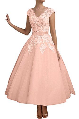 TOSKANA BRAUT Elegant Neu V-Neck Spitze Tuell Brautkleider Abendkleider WadenWadenlang Partykleider Ballkleid Altrosa
