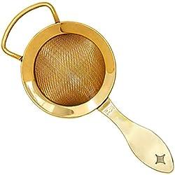 Patrimonio de la humanidad Bonzer chapado en oro fino colador de gusanillo - colador de malla fina profesional de cóctel de frutas