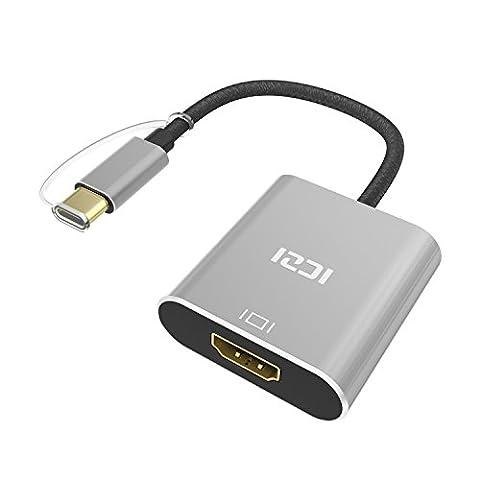 Adaptateur USB C vers HDMI, ICZI Câble USB Type C vers HDMI, Convertisseur 4K Plaqué Or, Câble Nylon tressé , Aluminum Case, Mâle vers Femelle, Compatible avec MacBook Pro 2016, Google Le nouveau Chromebook Pixel (Gris)