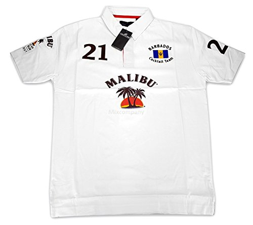 Preisvergleich Produktbild Malibu Poloshirt Polo Shirt Hemd T-Shirt 100% Baumwolle - Weiß Größe S / M