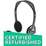 (CERTIFIED REFURBISHED) Logitech H111 Stero Headset, Black & Grey