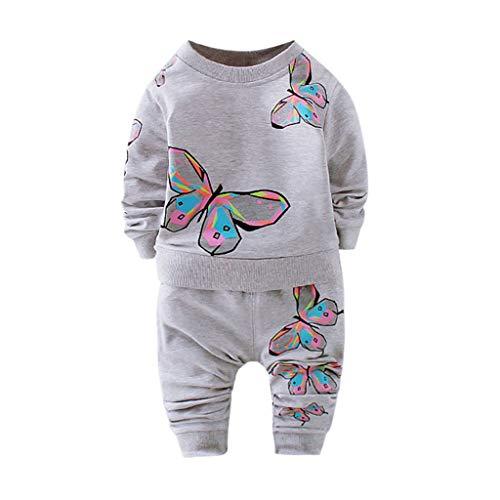 MRULIC Kleinkind Baby Jungen und Mädchen Insgesamt Langarm T-Shirt und Hose Trainingsanzug Bekleidungsset Outfits Schlafanzug mit Schmetterlingsdruck(Grau,90-100cm/L) -