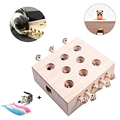 Cat Funny Interactive Puzzle Toy, Wooden Solid Whack A Mole Mouse Game Whack-A-Mole Exercise Machine with 3 Cat Teethbrush by WTTTTW