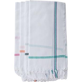 Fancyadda Handloom White Cotton Bath Towels (Pack of 4, 30x60, 2.5 feet Width x 5 feet Length, Light Weight, Fast Absorbing)