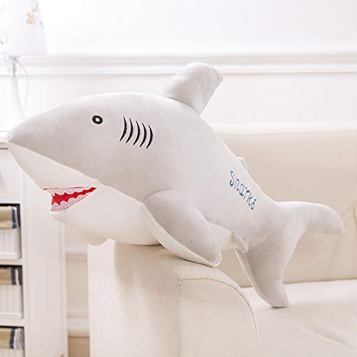 luludsoo Plüsch Spielzeug Tiere Gefüllt Kissen Spielzeug, Zimmer Dekoration Für Kinder Baby Paare, Pp Baumwolle Großen Weißen Hai 55 cm Grauer Hai