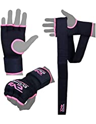 Evo Ladies Pink Elasticated Gel Gloves Boxing Wrist Wraps Support Straps MMA Bag Inner Glove (Small/Medium)