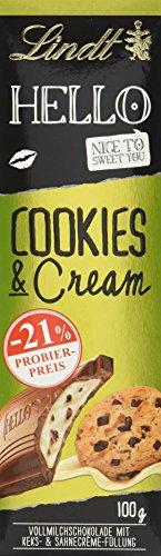 Preisvergleich Produktbild HELLO Tafel,  Cookies & Cream,  Promotion,  gefüllte Vollmilchschokolade mit Keksstückchen und Sahnecrème,  12er Pack (12 x 100 g)