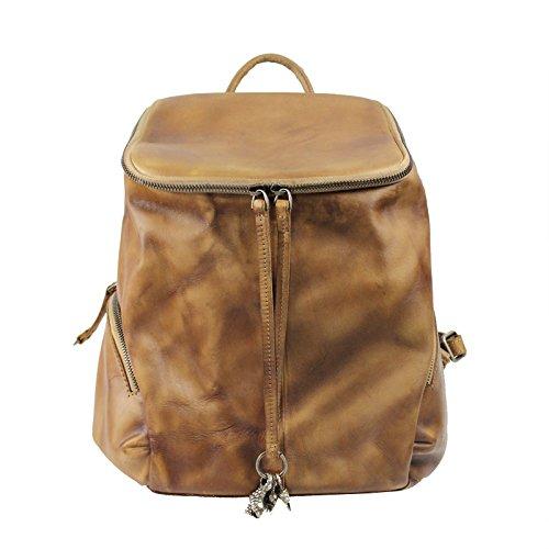 Sac à dos en plein air manuel portable original tendance Sac à dos la première couche de sacs en cuir ladies Camel