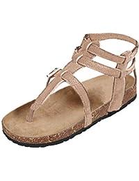 Minetom Femmes Sandales Peep Toe Printemps Plate Chaussures Boucle Shoes  Mode Décontractée Sandales… dfe21d2875d5