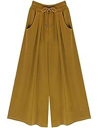 Pantalones Anchos Pantalon Verano Pantalones Falda Mujer Culotte Pantalones  De Tiempo Libre Elegantes Fiesta Estilo Elastische 0648c06ee182