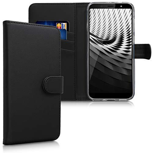 kwmobile HTC U12 Life Hülle - Kunstleder Wallet Case für HTC U12 Life mit Kartenfächern & Stand - Schwarz