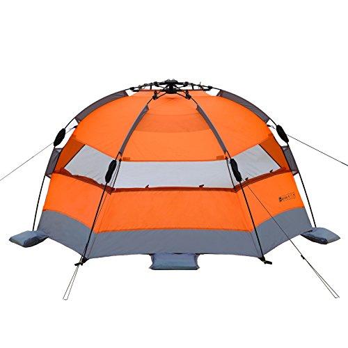 Qeedo Strandmuschel Quick Bay, Strandzelt mit UV-Schutz, Sonnenschutz und 360° Panorama View - orange - 6