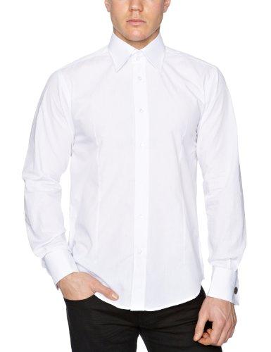 Guide London Homme Double Cuff Shirt, Blanc Blanc - Blanc