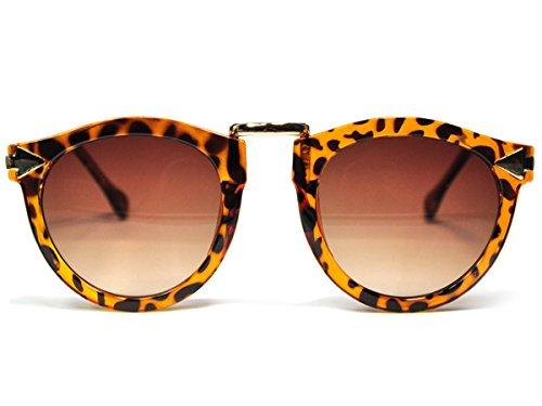 CoolChange Klassiche Damen Sonnenbrille mit goldfarbenen Metallbügeln in Leopard oder Blumenmuster...