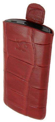 Original Suncase® Tasche für / Samsung Wave S8500 / Leder Etui Handytasche Ledertasche Schutzhülle Case Hülle (mit Zieh-Lasche) in croco-rot
