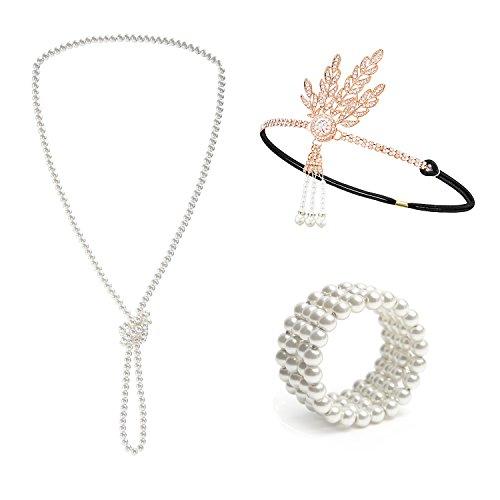 Metme 1920s–set di accessori per la testa con disegno di gatsby, collana perle e bracciale elastico e lega, colore: bianco latte + oro rosa, cod. me9-0072-88