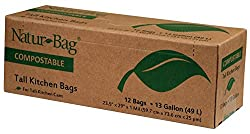 (Pack of 2) Natur-Bag Kitchen Food Waste Compostable Bags - 13 Gallon, 12 Bags