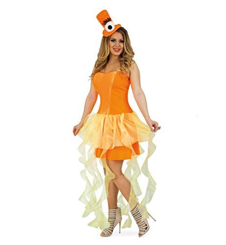 Hut Medusa Kostüm - KarnevalsTeufel Quallenkleid mit Hut orange, Unterwasserspaß, Meereswesen, Tentakel, Meerestier (40)