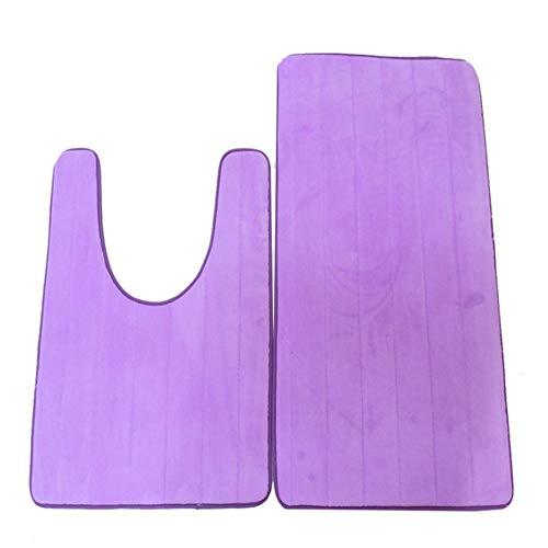 WYPJ Alfombra De Baño Microfibra Combinación de alfombras para el Contorno del baño Alfombra de baño Antideslizante Alfombra de baño en Forma de U Púrpura Estera De Baño De Absorción De Agua