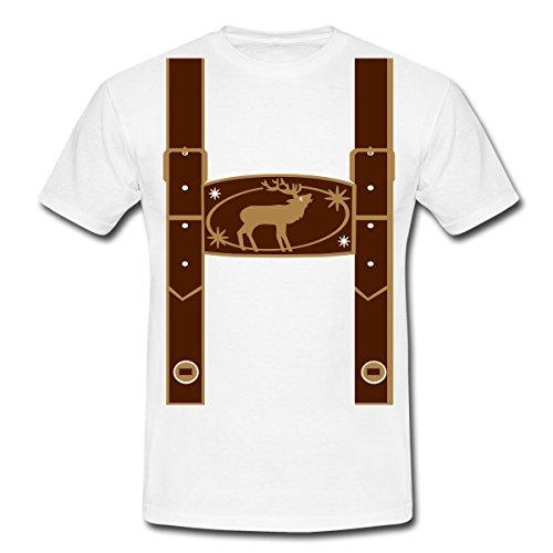 Spreadshirt Oktoberfest Falsche Lederhose Männer T-Shirt, XXL, Weiß