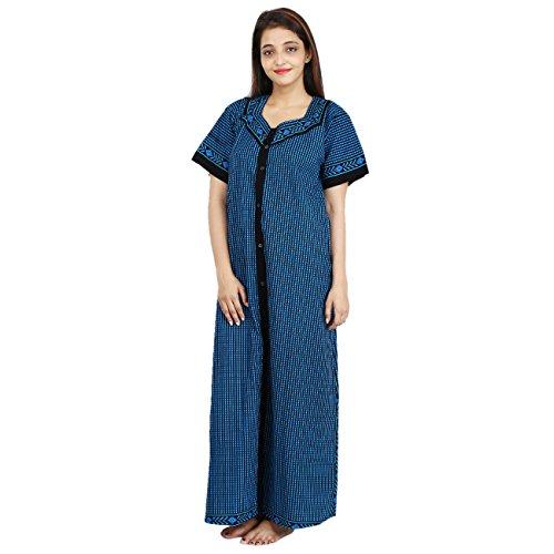 Womens Nighty Fully open front button down Nightwear Cotton Maxi Dress Sleepwear Nightgown Block Print