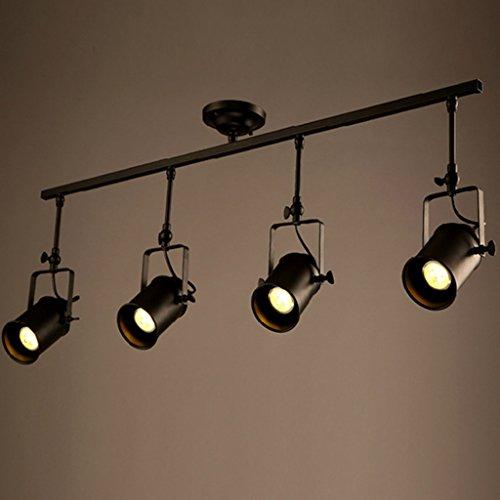 Vier Helle Eisen (MEILING Amerikanischer Art-ländlicher Eisen-Retro- lange Pole-Schienen-Scheinwerfer-Industrie-Bekleidungs-Speicher-Bar-Pers5onlichkeit-Led-gegossene helle Lampen ( größe : 4 ))