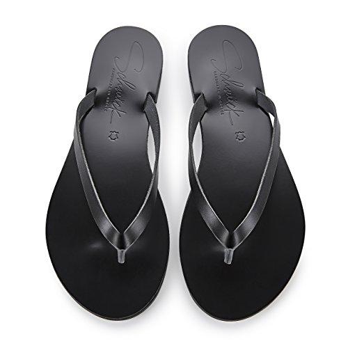 Schmick Shoes Flip Flops Luca: Damen Leder Zehentrenner Sandalen Sommerschuhe Flacher Absatz Handgefertigt Schwarz / Schwarz