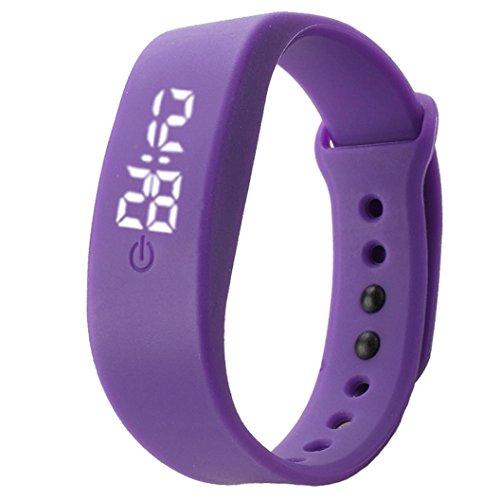 Zolimx Damen Herren Sport Uhr Gummi LED Datum Armband Digital Armbanduhr (Lila)