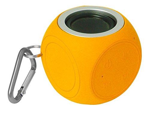 S2G WATERCUBE von SOUND2GO - Robuster Bluetooth Lautsprecher mit Freisprecheinrichtung und Kamera-Auslösefunktion, outdoorgeeignet mit Karabinerhaken - Orange