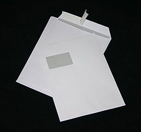 50 Stück Versandtaschen Briefumschläge C4 A4 weiß haftklebend mit Fenster 229x324 mm HK