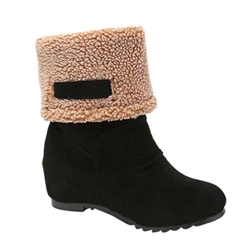 Stiefel Damen Flache Schuhe Sonnena Ankle Boots Frauen Knöchel Stiefel Warm Gefütterte Schneestiefel Wildleder Halbschaft Stiefel Winter Low-Heels Schuhe Outdoor Schuhe (40, Sexy Schwarz) (Stiefel Schwarz Plattform Erwachsene)