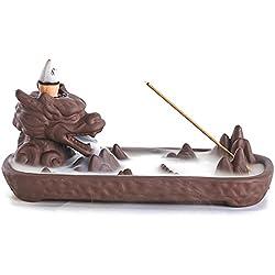 zingyou dragón cerámica flujo de retorno de incienso titular con conos de incienso para decoración del hogar