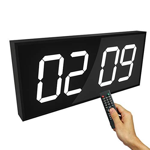 CCDYLQ 1,8 Zoll Fernbedienung Digitalkamera Doppelwanduhr, Multi-Funktioneller Countdown Timer mit Fernbedienung Temperaturdatum für Office/Home/Airport/Gymnasium,White