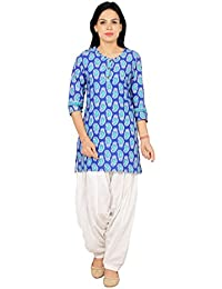 Rama Printed Blue Color Cotton Short Kurti