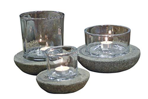 Neo-Therm Windlicht 2er Set inkl.Glas, Naturstein, Garten, Dekoration, Steindeko