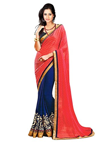 Glory Sarees Georgette Saree (Nksh501_Pink And Blue)
