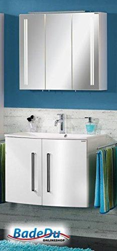 FACKELMANN LED Spiegelschrank LUGANO / Badschrank mit Soft-Close-System / Maße (B x H x T): ca. 80 x 68 x 16 cm / hochwertiger Schrank fürs Bad / Möbel fürs WC oder Badezimmer / Korpus: Weiß / Front: Spiegel / Breite 80 cm