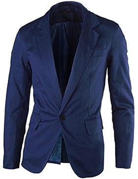 SODIAL (R) Casual delgado con un boton de la chaqueta del juego con estilo para hombre chaquetas de la capa (Azul...