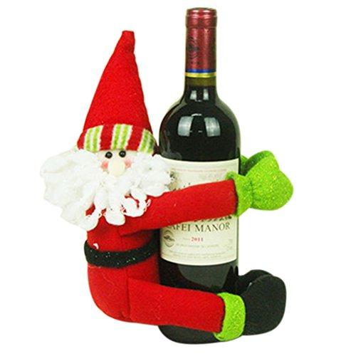 Tinksky Decoracion Navidad Adornos Navideños Muñeca de Papá Noel Envoltura de Botellas de Vino