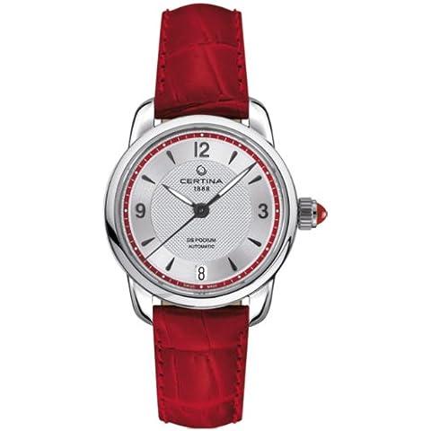 Certina  - Reloj Analógico de Automático para Mujer, correa de Cuero color Rojo
