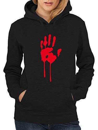 clothinx Damen Kapuzenpullover Halloween Bluthand Schwarz Größe ()