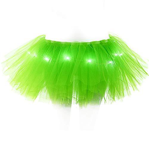 Damen Tüll mit LED Licht Ballet Tutu Tanz Rock,Tüllrock Petticoat Unterrock Kurz Ballkleid Abendkleid Gelegenheit Zubehör