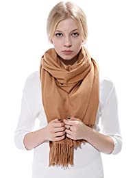 Anboor Women's Cashmere Feel Winter Thick Blanket Stole Scarf With Tassel Solid Color Large Warm Shawl Camel