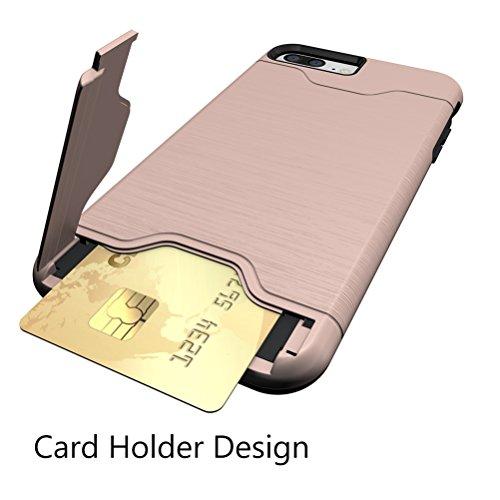 Cover iphone 7, Bestsky Silicone e Plastica Duro Rugged Armor Case per schede Card Slot Supporto KickStand Portafoglio Bumper Protezione Custodia per iPhone 7 Pink Gold