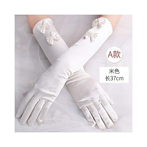 Calvin Twain528251 Arbeitshandschuhe, Fahrradhandschuhe Hochzeit oder Schönheitswettbewerb, Satin Handschuhe Princess Handschuhe for Mädchen Urlaub Outdoor-Winter-Handschuhe (Color : BEIGE-A)