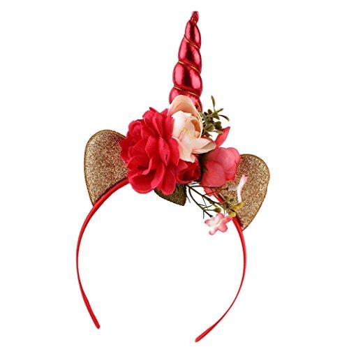Sharplace Einhorn mit Ohren Blumen Haarreif Haarbänder Kinder Kopfschmuck Kopf Cosplay - Ohr-Rot