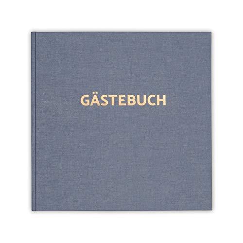 (bigdaygraphix Gästebuch Hochzeit Hardcover blau 100 weiße Seiten Folienprägung quadratisch 21x21cm)