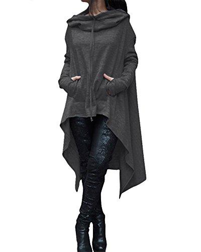 Donna Vestiti Lunghi Felpe con Cappuccio Hoodies Asimmetrico Abito Pullover Sweatshirt Tops Grigio scuro