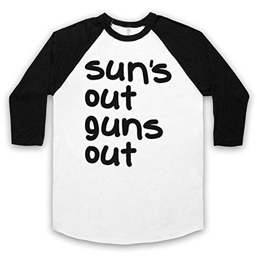 Sun's Out Guns Out Gym Slogan 3/4 Hulse Retro Baseball T-Shirt Weis & Schwarz